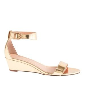 J.Crew Lillian mirror metallic low wedge sandals